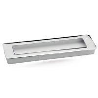 Ручка мебельная врезная с утапливаемой крышкой Берфино 217 матовый хром+белая 160 мм