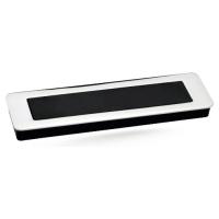 Ручка мебельная врезная с утапливаемой крышкой Берфино 217 инокс+черная 160 мм